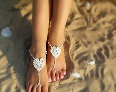 Crochet Barefoot Sandals Tan Barefoot sandlesBeach PoolNude | Etsy