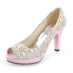Chic Lace Stiletto Heel Pumps With Split Joint Party / Evening Shoes (More Colors) – USD $ 34.99