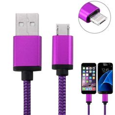 2 in 1 Wave Woven Style Micro USB & 8 Pin to USB Data / Charger Cable for iPhone, iPad, Galaxy, Sony and other Smartphone, Length: 1m