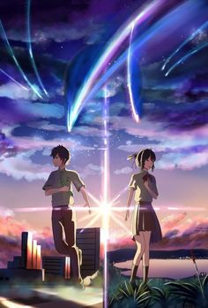 Taki and Mitsuha(kimi no na wa or your name) Kimi No Na Wa, Me Me Me Anime, Anime Love, Mitsuha And Taki, She And Her Cat, The Garden Of Words, Your Name Anime, L Death Note, Anime Scenery