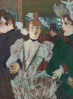 NOT ON VIEW Louise Weber, nicknamed La Goulue (the glutton), is depicted in the Moulin Rouge—a Montmartre cabaret frequented by the Parisian demimonde—flanked by her sister to her right and, to her left, her lover. Toulouse-Lautrec made many paintings of Weber, a star performer known for her appetite. Throughout his work he portrayed unconventional individuals in an audacious manner both frank and sympathetic.