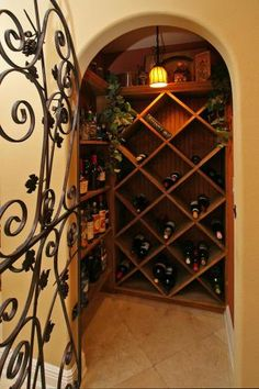 Wine nook in spanish-style home