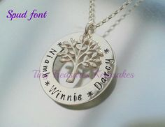 Sterling silver handstamped small Family Tree by TinyTreasuresBySC, £30.00