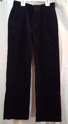 Chaps Boys Size 8 Black Classic Chino Corduroy Flat Front Pants Holiday Dressy #Chaps #KhakisChinos #DressyHoliday