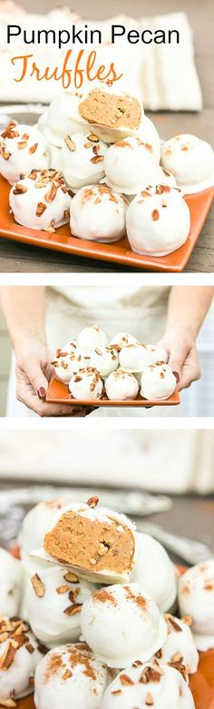 These pumpkin pecan truffles have smooth creamy pumpkin centers with pecan pieces hidden inside. The white chocolate coating is drizzled overtop and more pecan pieces sprinkled for the finale. Perfect no-bake party treats that can be quickly made! www.blessherheart...