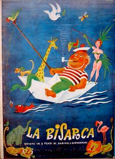 """Cover of the programme for Pietro Garinei and Sandro Giovannini's theatre revue show """"La bisarca"""" (ironic for """"The Second Ark"""", 1950), based upon their hugely successful radio revue show with the same title (1948-50)."""