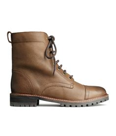 Premium-quality brown leather boots with laces & chunky cleated soles. | H&M Shoes