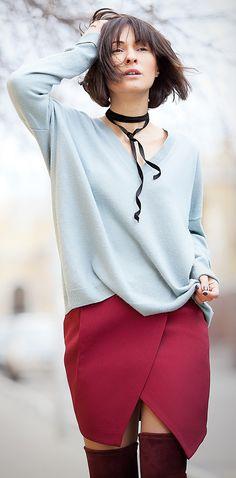 marsala mini skirt   serenity cashmere jumper   otk boots   spring outfits   galant girl   ellena galant