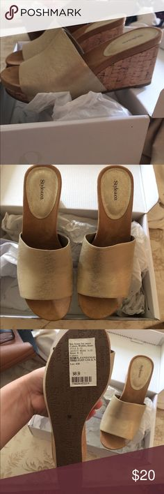 Tan Wedges NWT, about 3 inch heel. Super comfy! Have these in another color that i wear and they are easy to walk in and can be worn all day long! Shoes Wedges
