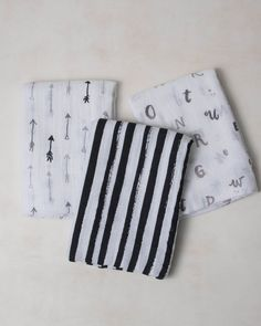 Cotton Muslin Swaddle Blanket Set - Black and White Muslin Fabric, Cotton Muslin, Black White Nursery, Muslin Swaddle Blanket, Little Unicorn, Baby Boy Outfits, Baby Gifts, Throw Pillows, Black And White