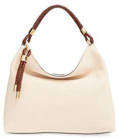 Shop Now - >  https://api.shopstyle.com/action/apiVisitRetailer?id=499804895&pid=uid6996-25233114-59 Michael Kors 'Large Skorpios' Leather Hobo - White  ...