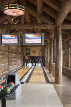 Our collection of amenity & home bowling alley photos. Checkout our awesome image gallery from our portfolio of completed custom private bowling alleys. Home Interior, Interior Design Living Room, Home Bowling Alley, Sport Bar Design, Log Cabin Homes, Log Cabins, Enchanted Home, Home Goods Decor, Boutique Homes