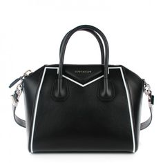 This is an authentic GIVENCHY Calfskin Small Contrasted Frame Antigona in Black. This elegant smallermodel is composed of luxuriously calfskin leather detailed with a white striping outlining the bag.
