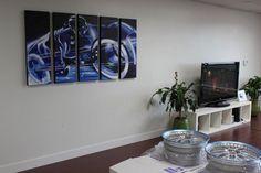 "Tron Legacy Lightcycle Large Wall Art 62"", Large Wall Art Deco Blue Tron Acrylic Painting, Original Canvas Large Movie Fan Art Wall Decor"
