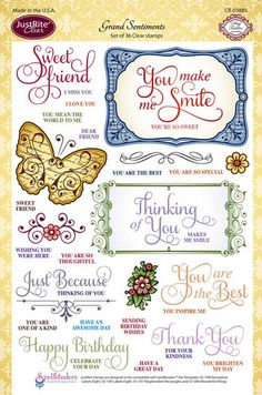Justrite Papercraft Grand Sentiments - Clear Stamp. 6 x 8 Set of 36 Clear Stamps. Includes the sentiments Sweet Friend, I Miss You, I Love You, You make me smil