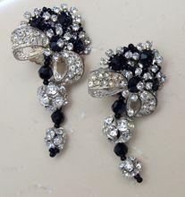 Lois Ann Glass and Rhinestone Dangle Earrings