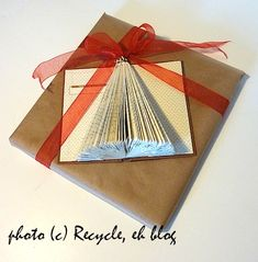 Christmas tree made out of an old book! Also had some other great ideas how to use these little trees on the link.