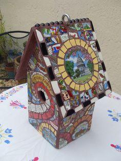 State plate mosaic birdhouse
