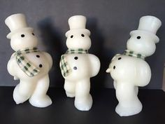 """Set of 3 Gurley Style Ice Skating Snowman 8 5"""" Tall Country Primitive 
