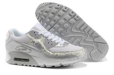 Mens Nike Air Max 90 Essential White Metallic Silver Leopard Trainers UK
