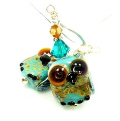 Owl Lampwork Earrings Turquoise Blue Amber Brown Yellow Crystal Sterling Silver