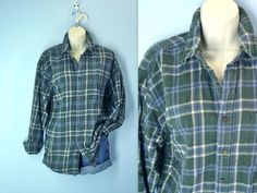 Vintage Flannel Shirt / 1980s Green Plaid Flannel by SnapVintage, $21.00