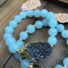 Gray Gunmetal Druzy and 10mm Aquamarine by CarrieAnnetteJewelry