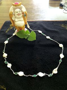 Emerald Necklace, Pearl Necklace, Silver Pearls, 925 Silver, Jewellery, String Of Pearls, Jewels, Schmuck, Pearl Necklaces