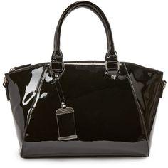 ShoeDazzle Bags Jordon Satchel Womens Black ❤ liked on Polyvore featuring bags, handbags, black, wallets & cases, man bag, satchel style purse, satchel bag, handbag satchel and satchel hand bags