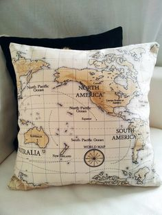 Decor world map pillow cushion cover/ for sofa or couch /decorative pillows / decor housewares. on Etsy, $29.34