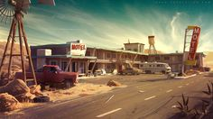 Dark Days : motel environment concept by Tohad.deviantart.com on @DeviantArt