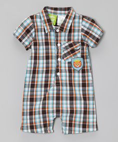 Loving this Brown Plaid Lion Playsuit - Infant on #zulily! #zulilyfinds