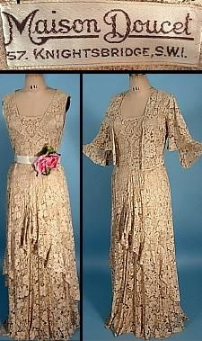 c. 1931/1932 MAISON DOUCET, 57, Knightsbridge, SWI  Beige Lace Gown with Matching Jacket
