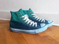Green turquoise & navy blue ombre Converse, upcycled vintage sneakers, dip dye all stars, Chucks, UK 7 (eu 40, US wo's 9, US men's 7) on Etsy, $70.83