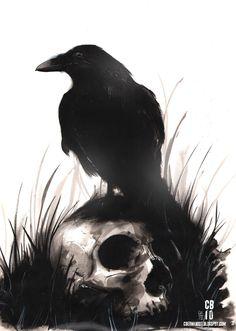 Inkwash Skull and Bird by cbernhardt