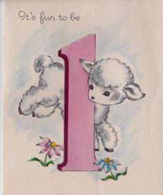 Vintage 1950's 1 Year Old Lamb Greetings Card by poshtottydesignz