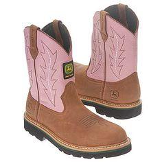 John Deere Wellington Pre Boots (Tan/Pink) - Kids' Boots - 11.0 M