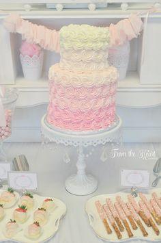 Tutus & Ties 4th Birthday Party via Kara's Party Ideas : the gorgeous ombre cake