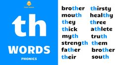 English Phonics - Improve your spoken English - daily use English words - English word speaking practice - English sentence speaking practice - th words - th sound - th phonics - th sound words - everyday th words - th phonics sound - phonics - th vowel sound words - long vowel sound th - long th words - vowel digraph th - long vowel th - th words examples - th blending - blending phonics - th consonant digraph - English language phonics - Learn English words with British English pronunciation. English Phonics, English Sentences, Ch Words, Education English, English Teachers, Phonics Sounds, Sound Words, Teaching Methods, Learn English Words