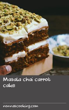 Masala chai carrot cake | Carrot cake is one of my favourite 'vegetable-type' cakes to make at home; it's simple to prepare and rather rustic yet absolutely delicious. I've infused this carrot cake withchai(the Hindi word for tea is chai) and used a few of my favourite spices that I use when I have a craving for masala chai(the Hindi word for spice is masala). I've also skipped the vanilla flavour in the cream cheese frosting in favour ofpistachio. This recipe is adapted from one of my favou Cake Recipes At Home, Delicious Cake Recipes, Easy Cake Recipes, Frosting Recipes, Yummy Cakes, Baking Recipes, Crab Recipes, Cheese Recipes, Flavoured Tea