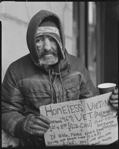 Homeless Vietnam vet in NYC.  This is so SAD!!!  And, what is our country doing for our veterans???