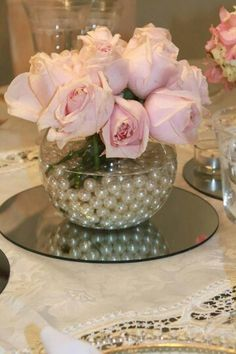 16 ideas for shabby chic wedding table centerpieces tea parties Shabby Chic Crafts, Shabby Chic Decor, Shabby Style, Wedding Centerpieces, Wedding Table, Wedding Ideas, Pearl Centerpiece, Fish Bowl Centerpiece Wedding, Diy Flower Centerpieces