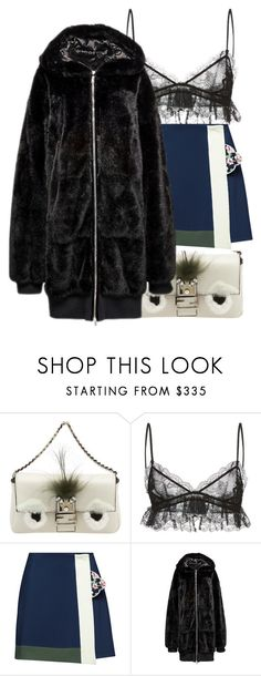 """Untitled #130"" by be-marta ❤ liked on Polyvore featuring Fendi, Giambattista Valli, Parden's, lace, fendi, puma, fur and fenty"