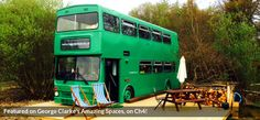 BIRTHDAY : The Big Green Bus Three Acres – East Sussex Bus for 2 from per night Sleeps up to 6 with extra guests: 2 doubles, 2 bunks. George Clarke, Canopy And Stars, Amazing Spaces, East Sussex, Acre, Hotel, Exhibitions, Motorhome, Fun Ideas
