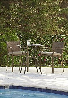 shop international caravan 3 piece woven resin patio bistro set at