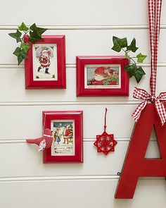 DIY: Frame vintage Christmas cards in wide red frames for easy, inexpensive and versatile holiday decor! The pop of color looks amazing! Noel Christmas, Christmas Images, Christmas Projects, Winter Christmas, All Things Christmas, Christmas Collage, Cheap Christmas, Christmas Mantles, Cheap Holiday
