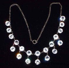 "Vintage Antique Art Deco Clear Crystal Sterling Silver 15"" Necklace ESTATE #Estate #ArtDeco"