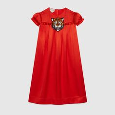 Children's silk dress with tiger - Gucci Girl's Dresses 455611ZB9446501