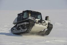 The Polaris Rampage tracked vehicle drives over sea ice at the austere camp on… Quad, Cool Trucks, Cool Cars, Mini Trucks, Snow Vehicles, Hors Route, Amphibious Vehicle, Bug Out Vehicle, Terrain Vehicle