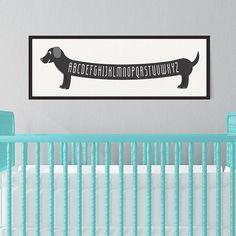 Dog Art Print Alphabet Dachshund Wiener Dog by ParadeAndCompany Puppy Nursery Theme, Dog Nursery, Nursery Ideas, Aqua Nursery, White Nursery, Themed Nursery, Dachshund Art, Dachshund Puppies, Daschund
